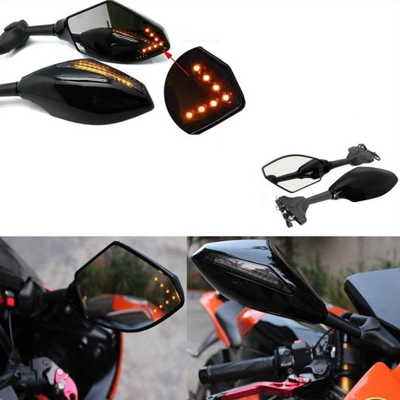 Universal Moto With LED Turn Signal Indicators Motorcycle Rearview Side Mirrors Retroviseur For Honda Suzuki Kawasaki Ducati