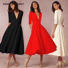 Homophony Woman Dress Deep V-Neck Sexy A-line Solid Color Elegant Casual Half Sleeve Maxi Dresses for Autumn and Winter Vestidos
