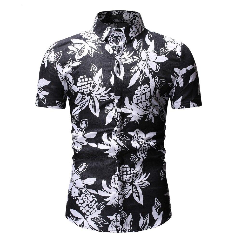 2019 marque hommes été plage hawaïen chemise ananas à manches courtes Floral chemises décontracté vacances vacances vêtements grande taille 3XL