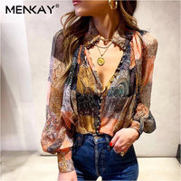 [MENKAY] Vintage Print Long Lanter Sleeve Stand Neck Single Breasted Blouse Women Shirt 2019 Fashion Clothing