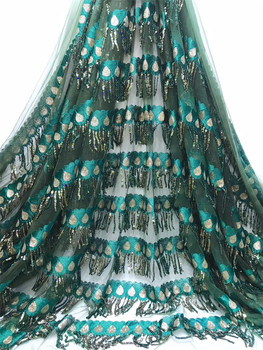 African sequin mesh lace fabric 2020 high quality Nigerian wedding lace fabric 5 yards French tulle lace fabric J3649