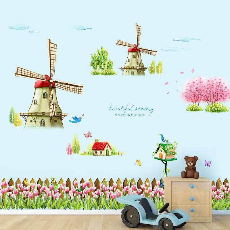 Cute Dutch windmill, children's flower stickers, suitable for kindergarten, children's store, children's room wall decoration