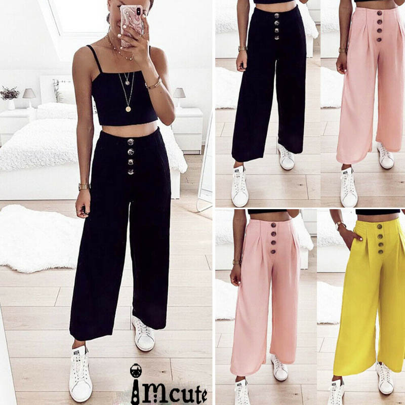 Wide     Leg     Pants   Women Solid High Waist Trousers Pleated Loose Casual Elegant Korean Style Chic School Daily Girls Palazzo Trouser