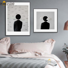 NHDARC Canvas Printings Spray Painting  Black White Fashion Modern Figure Hats Backs Simple Home Decor Postrers Wall Art Picture