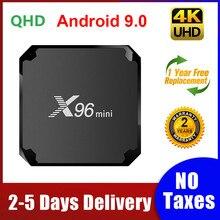 X96 Mini أندرويد 9.0 مربع التلفزيون الذكية Amlogic S905W رباعية النواة 1G 8G/2G 16 TVBox 2.4G واي فاي 100M LAN X96mini مجموعة صندوق