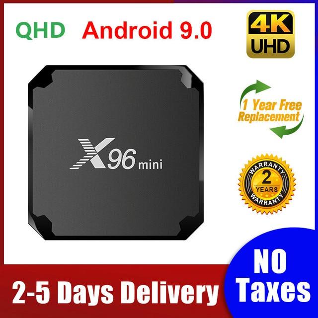 X96 Mini decodificador de señal con Android 9,0, dispositivo de TV inteligente, Amlogic S905W, Quad Core, 1G, 8G/2G, 16 TVBox, wi fi 2,4G, 100M, LAN, X96mini