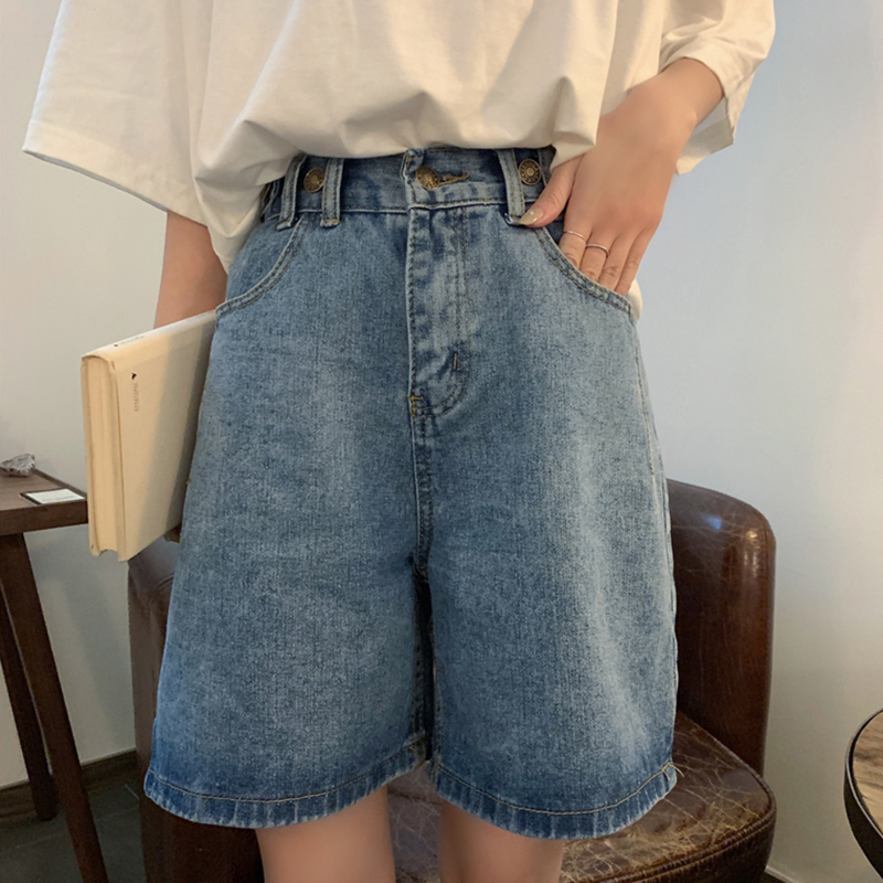 Vintage Fashion High Waist Slim Beige/Blue Denim Shorts Summer 2020 Loose Wide Leg Pockets Casual Knee-length Jeans For Female