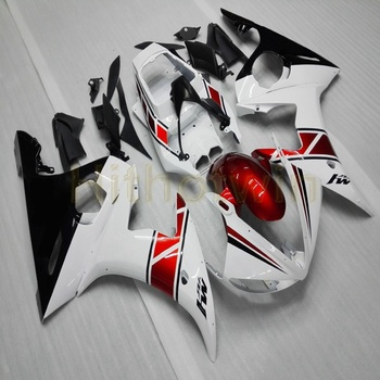 Custom motorcycle cowl for YZF-R6 2003-2005 2004 motor Fairings Injection mold red white