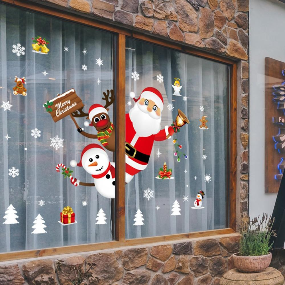 Christmas Door And Window Decoration Stickers Shop Window Glass Scene Layout Snowflake Stickers Wall Stickers