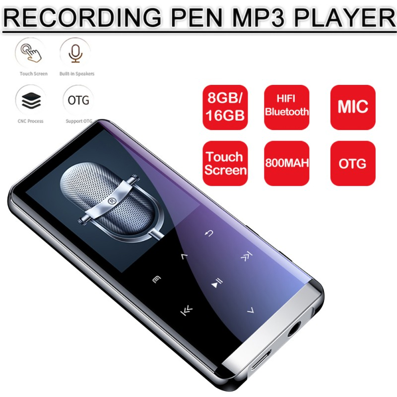 Bluetooth 4.2 Touch Screen MP3 Player Voice Recorder 1.8 Inch Mini Portable HIFI 5D Music Player 8GB Ultra Thin MP3 Player