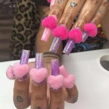 5pcs Pompoms Plush Heart 3D Nail Art Decorations Detachable Magnet Fashion Jewelry Manicure Design Accessories