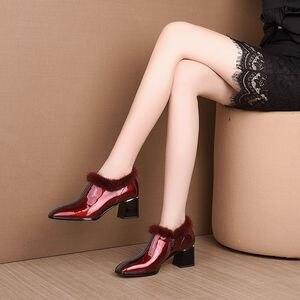 Image 4 - ALLBITEFO heißer verkauf echtem leder hohe ferse schuhe einfache stil Reine farbe frauen heels Elegante Herbst Winter high heels