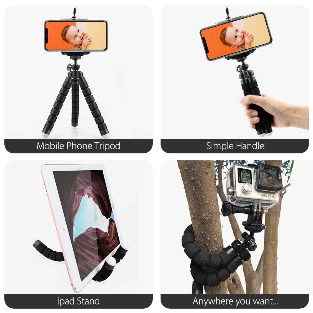 Vamson Flexible Mini Tripod for smartphone Tripod Mobile Phone Holder clip stand for GoPro Hero 8 7 6 5 4 3+2 1 for yi 4k VP414 3