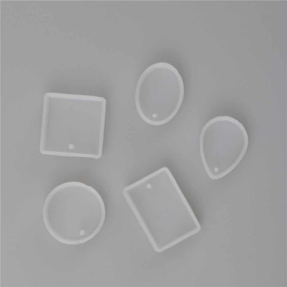 1/5 قطعة/المجموعة مربع دائري البيضاوي Waterdrop مستطيل الشكل ثقب قالب من السيليكون لتقوم بها بنفسك الحرفية الايبوكسي الراتنج قوالب القلائد قلادة القالب