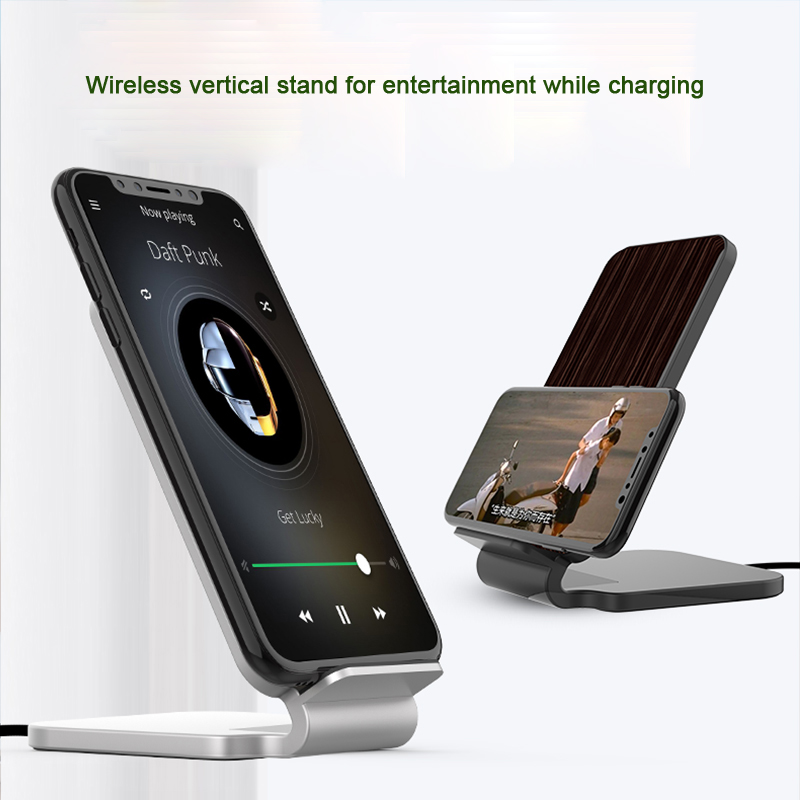 Lantro JS Qi Wireless Charger Stand Wood Fast Charger for iPhone Xs Max and Smartphone with 1M Type C Cable without Adapter in Mobile Phone Chargers from Cellphones Telecommunications