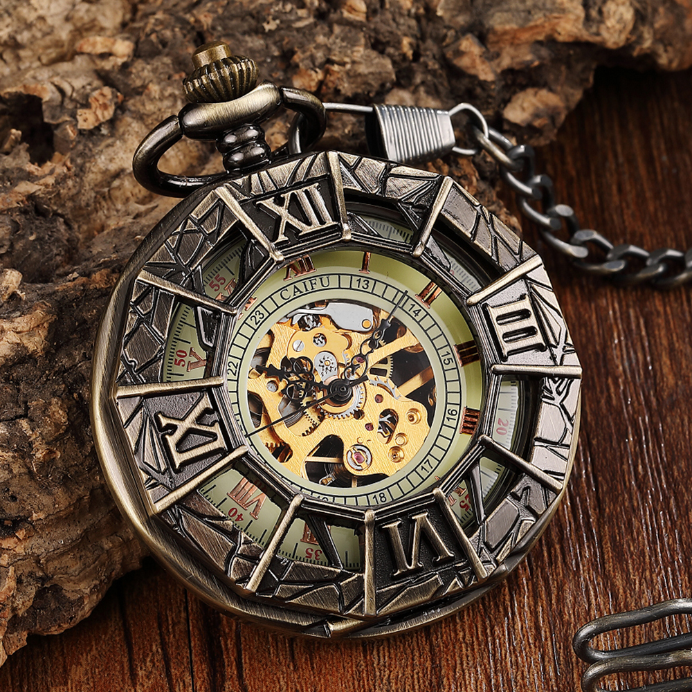 Vintage Mechanical Pocket Watch Antique Spider Engraved Hollow Roman Numerals Steampunk Necklace Fob Watches Pendent Chain Clock