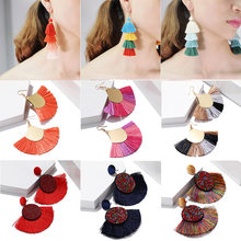 2019 New Bohemian Big Tassel Earrings For Women Statement Mix Color Silk Fabric Drop Dangle Earring ZA Pendientes Indian Jewelry(China)