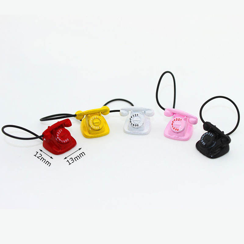 Mini Retro Phone 1:12 Dollhouse Miniature Metal Telephone Doll Living Room Accessories Pretend Play Doll House Furniture Toys