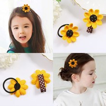 Sweet flowers sunflower hair ring cute braided rope hairpin girl princess baby tie rubber band head jewelry