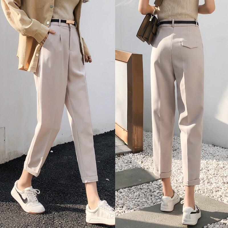 Elegant Ol Pants Women Solid Harem Straight Pants Mujer Black High Waist Trousers Vintage Spring Autumn 2020 Office Wear Pants