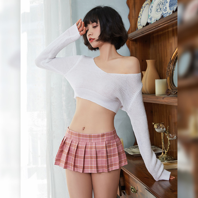Korean Style V-neck Loose Knitted Sweaters Women Thin Pullover Porn Mini Skirt Sets Adult Sex Fantasy Schoolgirl Cosplay Costume 1