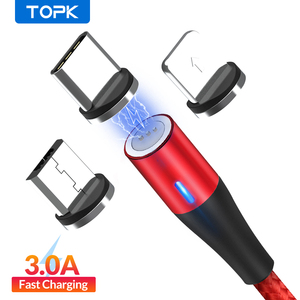 TOPK AM60 3A 3rd Generation Fast Charging LED Magnetic Micro USB Type C Cable for iPhone 11 X 8 7 USB Data Charging USB C Cable