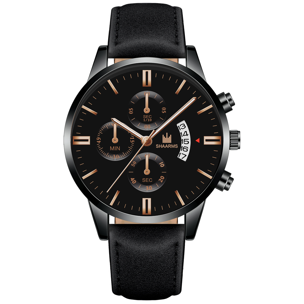 Relogio Masculino watches men fashion Sport box stainless steel leather band watch Quartz business wristwatch Reloj Hombre 2019 3