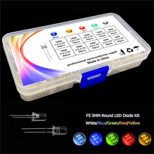 Transparent Cover 5 colour F5+F3 mm LED kit box Red Yellow Blue Green White Light Emitting Diode 5mm & 3mm mix color Assortment