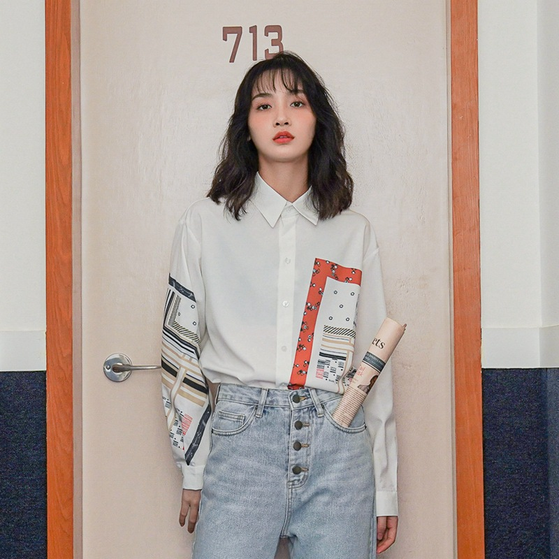 Vintage Interesting Women Shirts Lapel Loose Chic Tops 2020 Spring Fashion Collage Blouse Ladies Casual Printing Chiffon Shirt