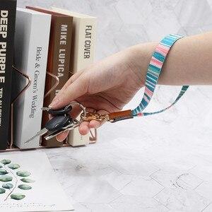 Pulsera de cuero, llavero con impresión, cordón, correa de muñeca, cordón para Gopro, cámara de teléfono móvil, USB, unidad Flash, llaves, cuerda de mano