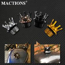 Mactions Crown Stil Flush Entlüftet Kraftstoff Tank Kappe Gas Cap Für Harley Sportster XL 883 1200 Touring Road King Dyna softail Kunden(China)