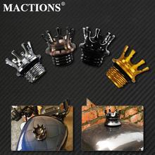 Mactions taç tarzı havalandırmalı yakıt deposu kapağı gaz kapağı için Harley Sportster XL 883 1200 Touring yol kral Dyna Softail özel