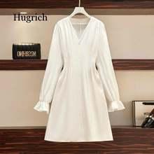 Осеннее платье с длинными рукавами белые пикантные Вечерние
