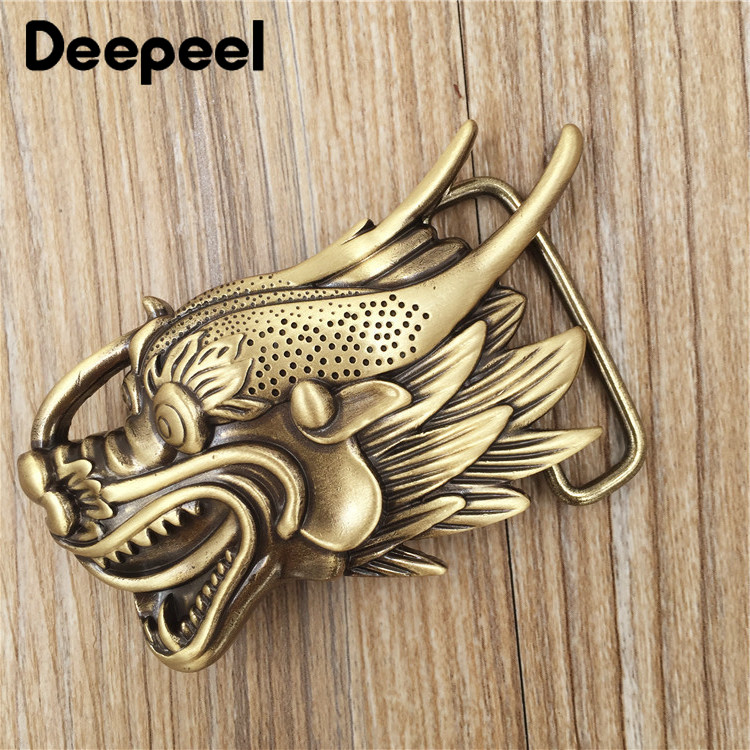 Deepeel 1pc ID 4cm Pure Brass Belt Buckle Head Retro Personality Faucet Pants Belt Smooth Buckle Plate Buckle Belt Accessories