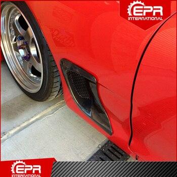 Para RX7 FD3S 1992-2002 RE Style guardabarros delantero de fibra de carbono conducto de salida grande RX7 rueda de carbono brillante embellecedor de rejilla de ventilación lateral