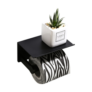 Image 3 - Soporte de papel higiénico para baño soporte de papel de váter de aluminio espacial montado en la pared para teléfono, color negro, plateado y dorado, con estante