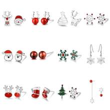 Jiayiqi Christmas Stud Earrings 925 Sterling Silver Fine Jewelry For Women Girl Cute Santa Tree Snowflake Earrings Party Gifts(China)
