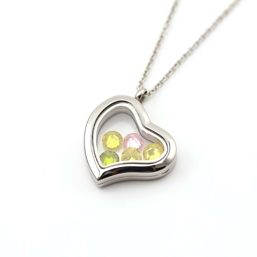 BOFEE 10PC Floating Living Glass Locket Pendant Charm Necklace Curvy Heart Magnetic Closure Fashion Stainless Steel Jewelry Gift in Pendants from Jewelry Accessories