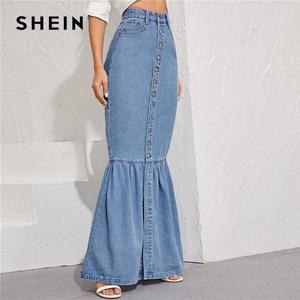 Image 2 - SHEIN Blue Button Front Fishtail Hem Denim Maxi Skirt Women Autumn Pocket High Waist Party Casual Slim Fitted Mermaid Skirts