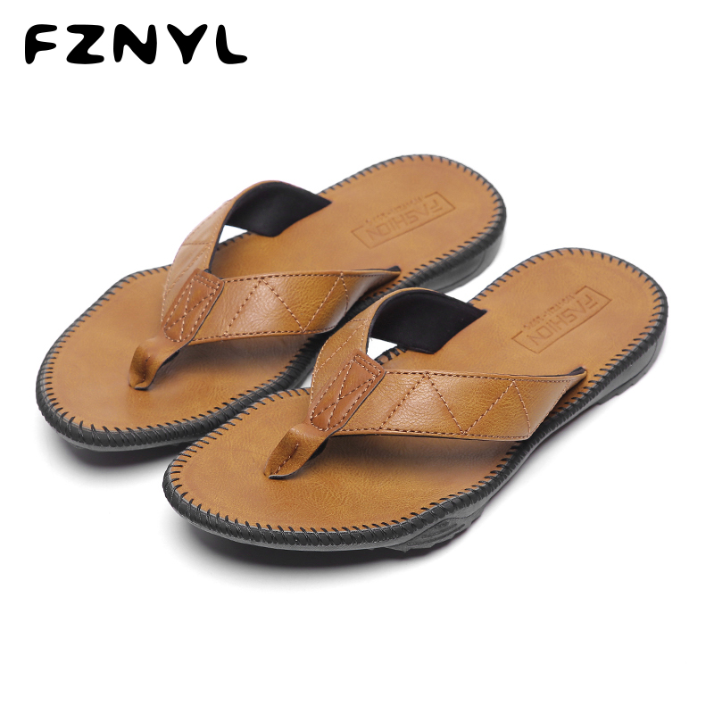 Buy FZNYL 2020 New Arrival Summer Flip Flops Men Slippers Classical Breathable Outdoor Sandals Non-slip Rubber House Casual Shoes