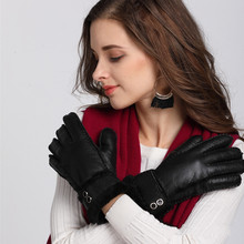 New Women Genuine Leather Gloves Winter Wool Fleece Warm Full Finger Gloves Elegant Ladies Windproof Outdoor Driving Gloves(China)