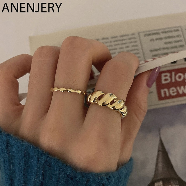 ANENJERY 925 Sterling Silver Twisted Crescents Open Rings for Women Gold Color Ring Jewelry Gift S-R1008 1