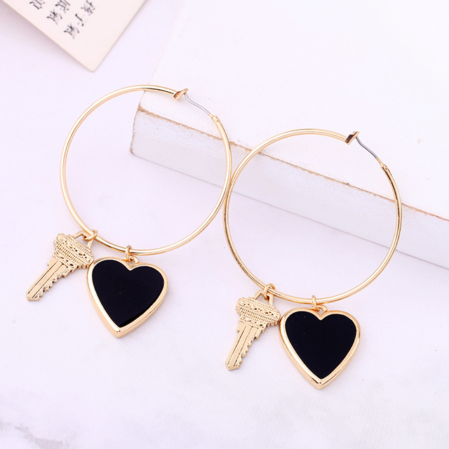 Handmade Gold Color Red Enamel Heart Key Hoop Earring For Women Wholesale Jewerly Accessory.jpg 640x640 - Handmade Gold Color Red Enamel Heart Key Hoop Earring For Women Wholesale Jewerly Accessory
