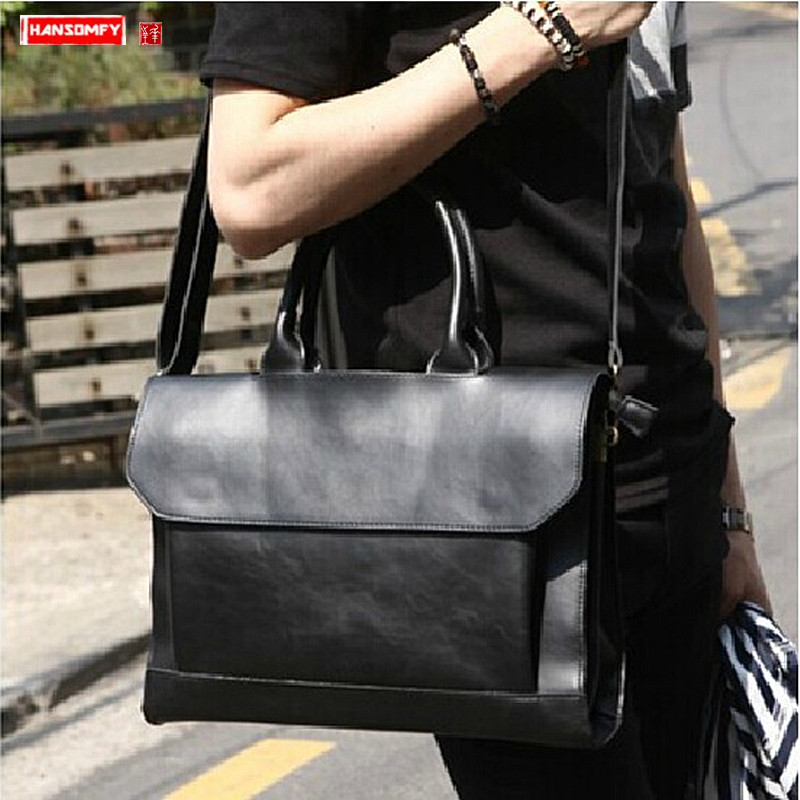 2019 New Genuine Leather Men's Bag Crazy Horse Leather Male 14