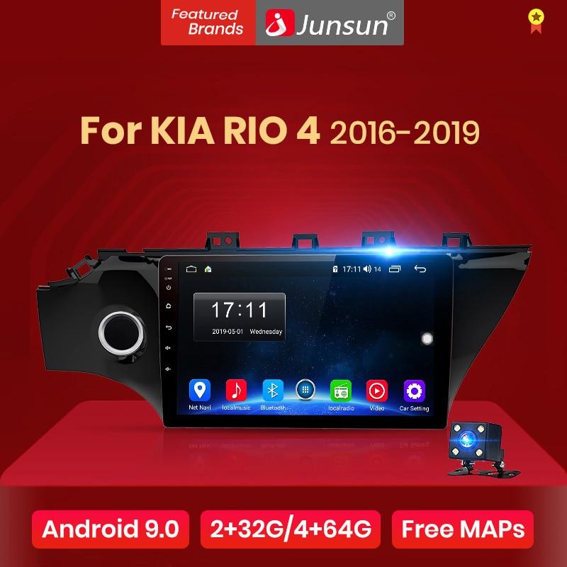 Junsun v1 2g + 32g android 9.0 dsp rádio do carro multimídia player de vídeo para kia rio 4 2016 2017 2018 2019 2din dvd gps navegação rds