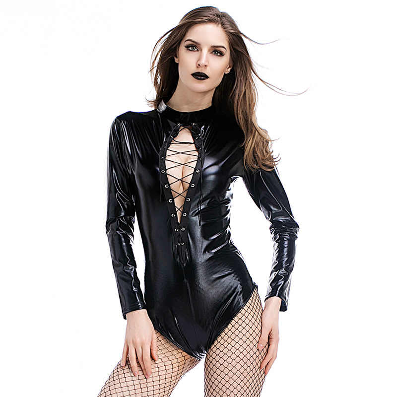 PU Kulit Jumpsuit Bodysuit Hitam Patent Kulit Leotard Clubwear Renda Depan Terbuka Wetlook Lateks Catsuit Wanita Vinyl Bodysuit