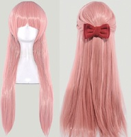 Japanese Wotakoi: Love is Hard for Otaku women Momose Narumi cosplay wig role play pink long straight hair wig with bowknot
