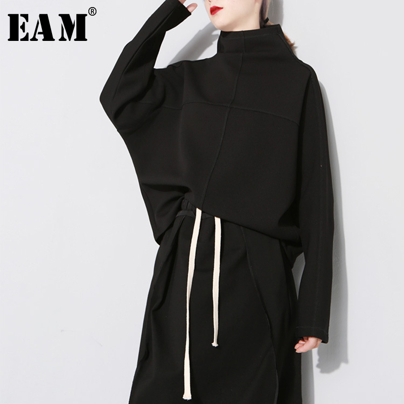 [EAM] Loose Fit Black White Causal Sweatshirt New Turtleneck Long Batwing Sleeve Women Big Size Fashion Tide Autumn Winter 2019