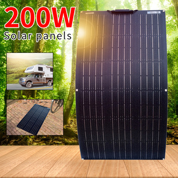 цена на 200Watt Flexible Solar Panel Cell Module RV/Car/Outdoor/Boat 12V Battery Charger