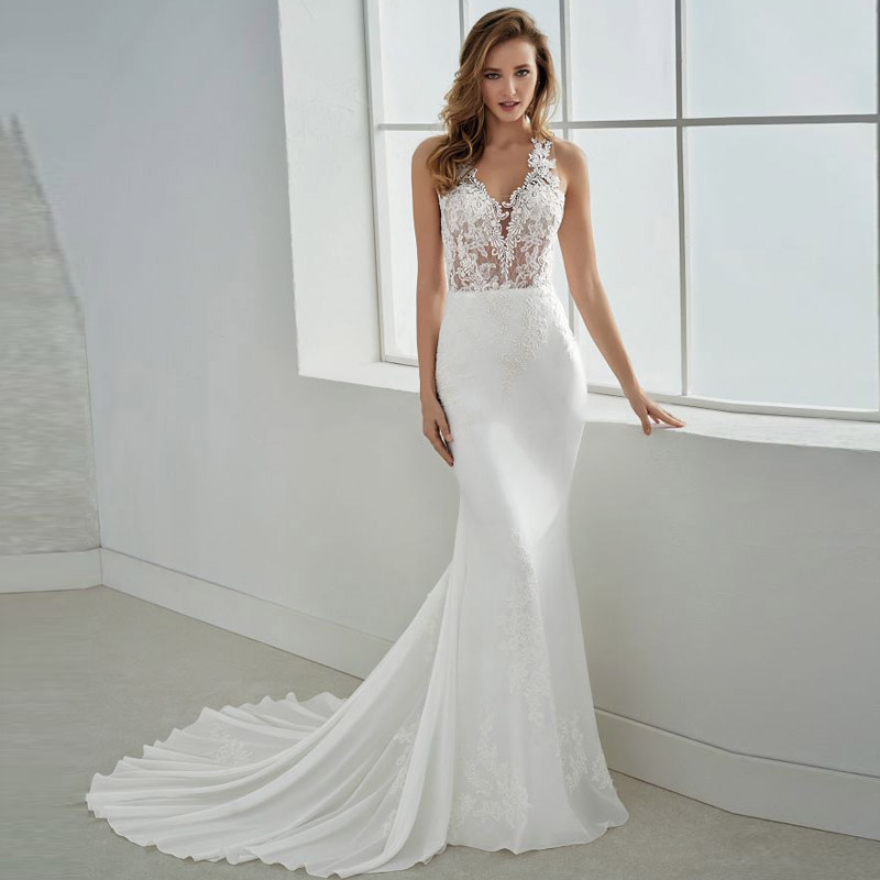 Eightale Mermaid Wedding Dress Appliques Lace V-Neck Chiffon Custom Made Bohemian Wedding GownsButtons Vestido De Noiva Sereia